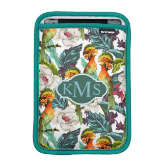Bird And Exotic Flower Pattern | Monogram Sleeve For iPad Mini