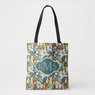 Bird And Exotic Flower Pattern | Monogram Tote Bag
