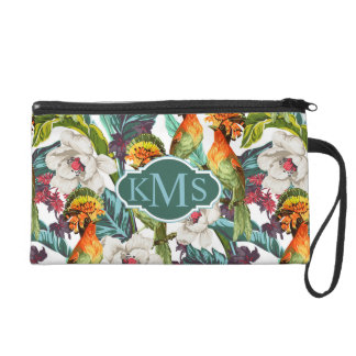 Bird And Exotic Flower Pattern | Monogram Wristlet Clutch