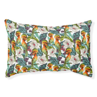 Bird And Exotic Flower Pattern Small Dog Bed
