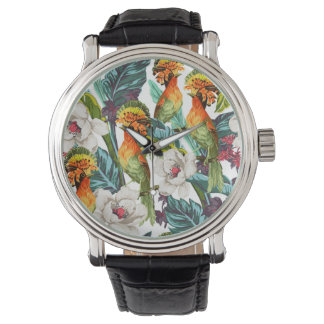 Bird And Exotic Flower Pattern Watches