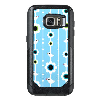 bird and flowers blue pattern OtterBox samsung galaxy s7 case