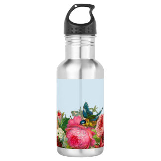 Bird and Flowers - Vintage Style 532 Ml Water Bottle