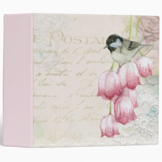 Bird and Flowers with Handwriting Shabby Vintage 3 Ring Binders