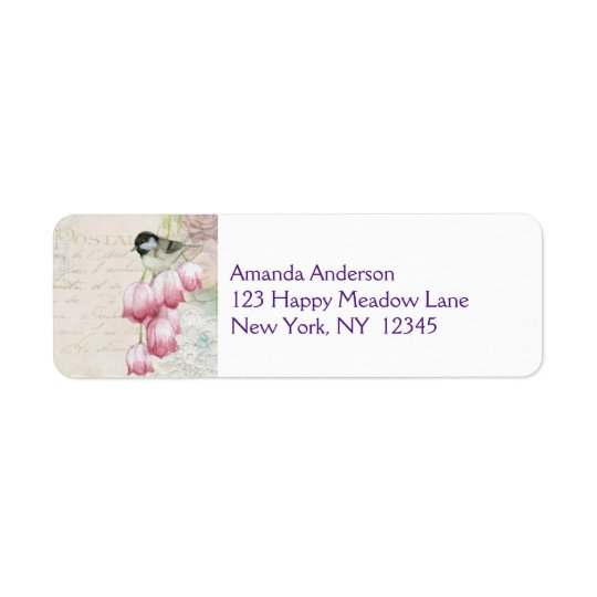 Bird and Flowers with Handwriting Shabby Vintage Return Address Label