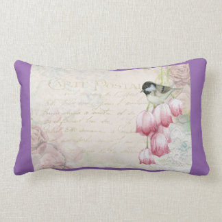 Bird and Flowers with Handwriting Shabby Vintage Throw Pillow