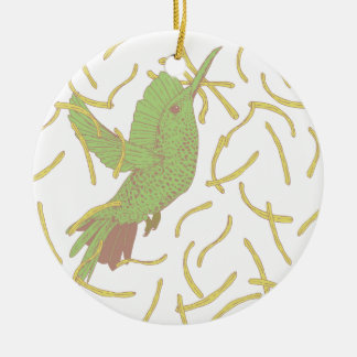 Bird and French Fries Ceramic Ornament