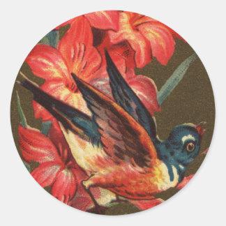 Bird and Gladiolas Victorian Classic Round Sticker