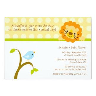 Bird and lion polkadots baby shower invitation