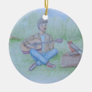bird and man singing round ceramic ornament