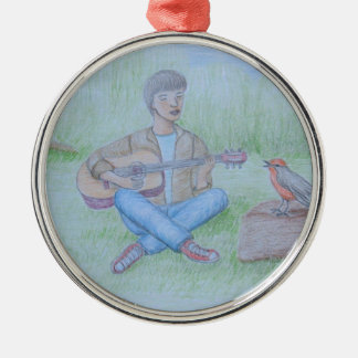 bird and man singing Silver-Colored round ornament