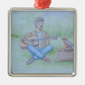 bird and man singing Silver-Colored square ornament