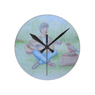 bird and man singing wall clocks