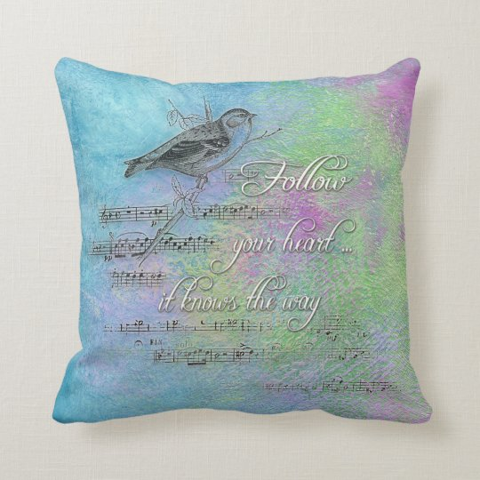 bird and music with inspirational quote throw pillow
