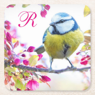 Bird and Pink Blossoms Monogram Square Paper Coaster