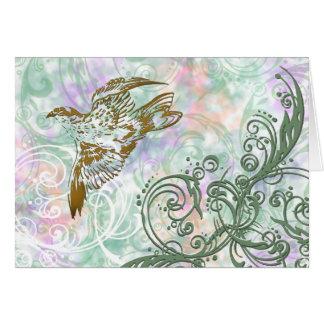 Bird and swirls card