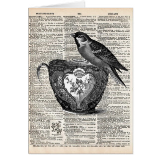 Bird and tea cup card