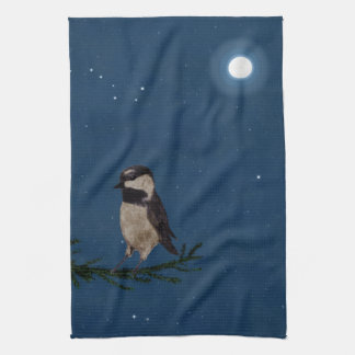 Bird Art, at Night with Stars Hand Towels