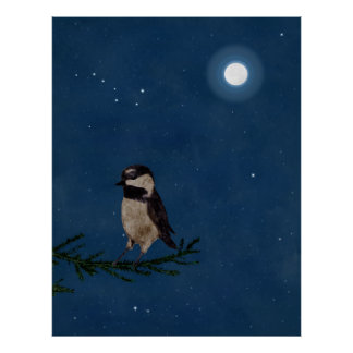 Bird Art, Chickadee, Moon, Stars, Big Dipper,Night Poster