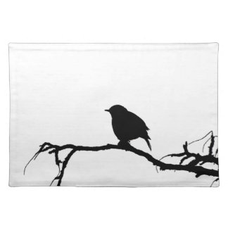 bird- art inspiration black white design placemat