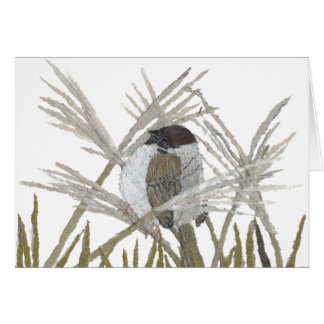 Bird Art, Sparrow, Winter Card