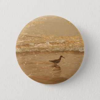 Bird at the beach 2 inch round button