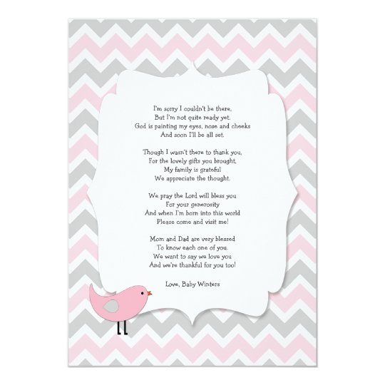 Bird Baby Shower Thank You Notes Poem Pink Grey Card