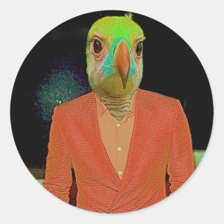 Bird Brain Classic Round Sticker
