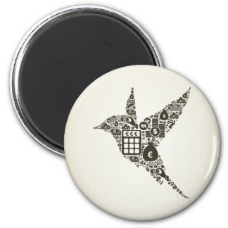 Bird business 2 inch round magnet