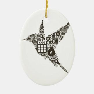 Bird business ceramic oval ornament