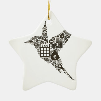 Bird business ceramic star ornament