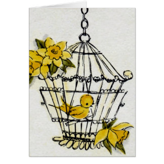 Bird Cage and Flowers Card