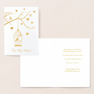 Bird Cage and Hearts Mother's Day Foil Card