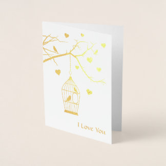 Bird Cage and Hearts Valentine Foil Card