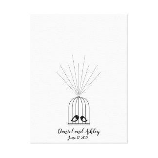 Bird Cage Fingerprint Wedding Guest Book