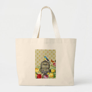 Bird Cage flower Vintage Large Tote Bag