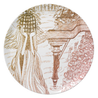 Bird Cage Rose Melamine Plate