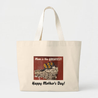 Bird Choir Sings Happy Mother's Day to Mom Large Tote Bag