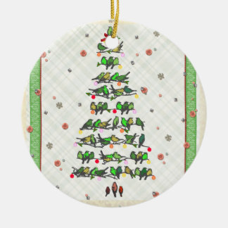 Bird Christmas Tree Ceramic Ornament