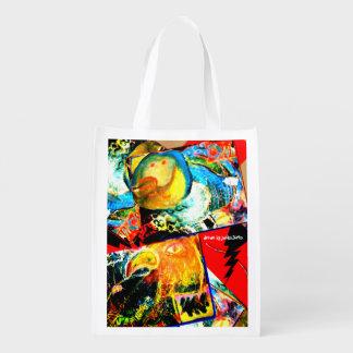 Bird Coraciiformes & Owl Reusable Grocery Bag