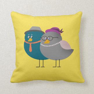 Bird Couple Cartoon Cute Retro Vintage Funny Love Throw Pillow
