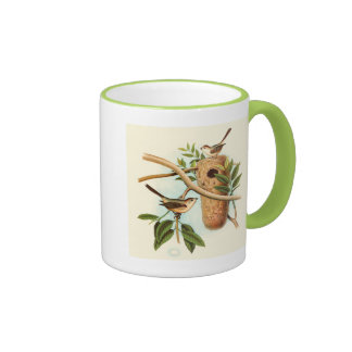 Bird Couple on a Nest Perched on a Branch Ringer Coffee Mug