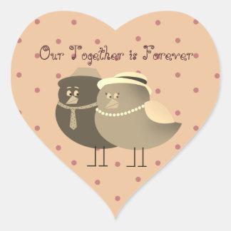 Bird Couple Retro Cartoon Love Heart Polka Dots Heart Sticker