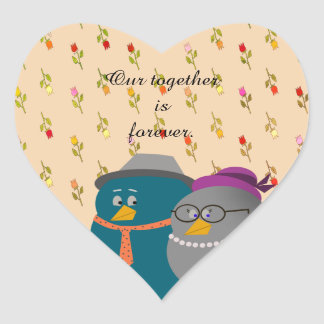 Bird Couple Retro Cartoon Love Together Forever Heart Sticker