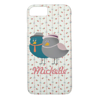 Bird Couple Retro Floral Ornate Personalized Cute iPhone 8/7 Case