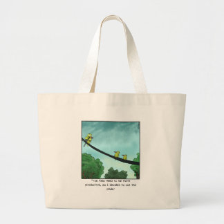 Bird Cut the Cable Large Tote Bag