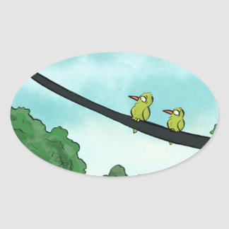 Bird Cut the Cable Oval Sticker