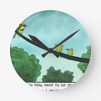 Bird Cut the Cable Round Clock