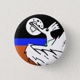 Bird dancing under moon 1 inch round button