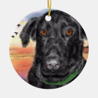 Bird dog ceramic ornament